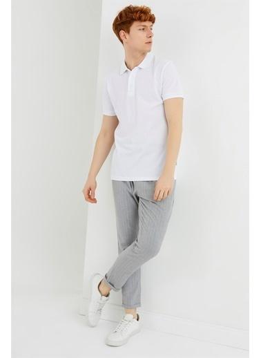 Z Giyim Pamuklu Düğmeli Polo Yaka T-shirt Beyaz
